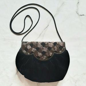 Vintage 80's Black Velvet Beaded Evening Bag